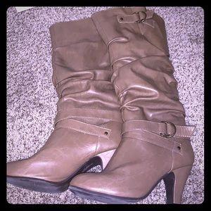 Rampage tan knee high boots